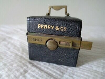 Antique French Depose Traveling Inkwell Brass Leather Case Perry & Co