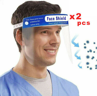 Safety Face Shield, Reusable Anti-Saliva Plastic Shields(Pack of 2)