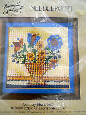New Something Special  Country Floral 1984 Petit Point needlepoint canvas floss