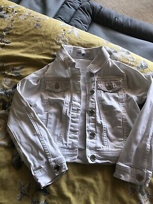 Girls M&s White Denim Jacket Age 7-8