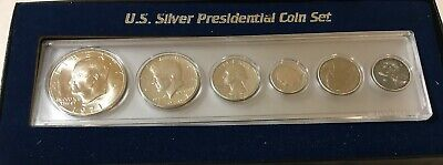 US SILVER PRESIDENTIAL COIN SET (6) COINS in Display 1971-S Ike 67 Kennedy 63 Q