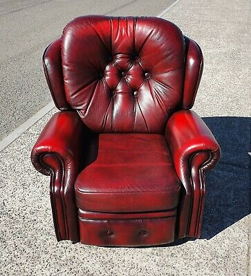 Oxblood Red Leather Chesterfield Reclining Armchair    Delivery Available