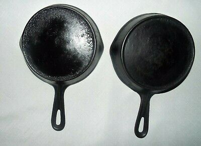 Two Antique #3 Cast Iron Skillets Heat Rings Unbranded Read!! Look!!!