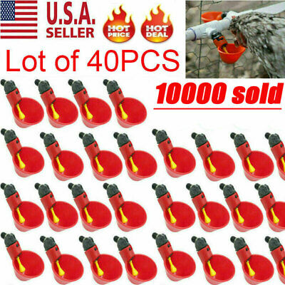 40PACK Poultry Water Drinking Cups Chicken Hen Plastic Automatic Drinker USA