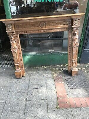 Victorian Carved Oak Fireplace Surround