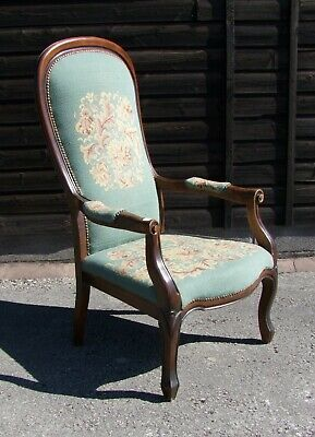 Louis Xv Style French Carved Oak And Needlepoint Armchair - (Conac27)