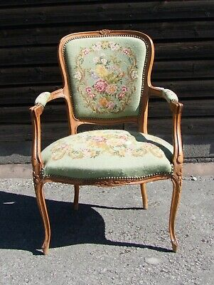 Louis Xv Style French Carved Walnut And Needlepoint Armchair - (Conac28)