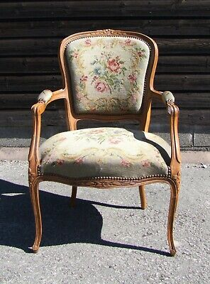 Louis Xv Style French Carved Walnut And Needlepoint Armchair - (Conac29)