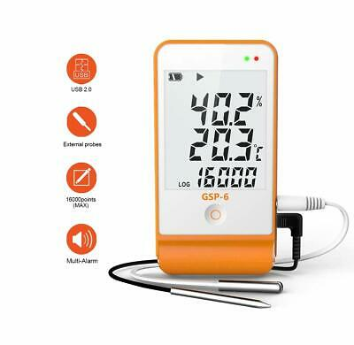 Temperature Humidity Data Logger USB Reusable Larger Display Two External Probe