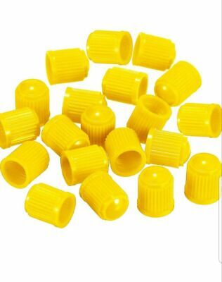 20 Yellow Plastic Tyre Valve Dust Caps Schrader Bmx Car