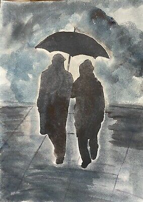 """Original Watercolour Painting Rainy Day """"A4 by D Coleman"""