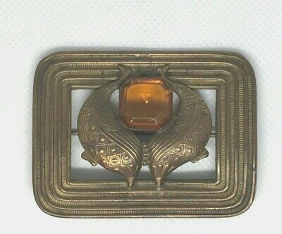 Antique Victorian Edwardian pressed brass pin peahens? topaz color stone