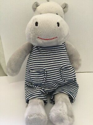 """Marks And Spencer 9"""" Grey Hippo Soft Toy Baby Teddy Blue Stripe Comforter M&S"""