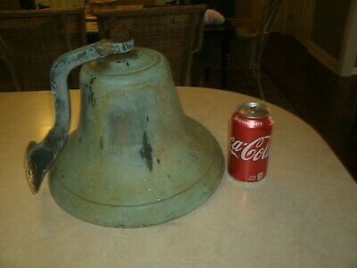 Large antique ship solid  brass/bronze Bell 12wx10h farm,school,church w/bracket