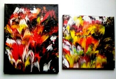 (Fire) Acrylic Dirty Pour 2 stretched canvas varnished B.R. Hughes