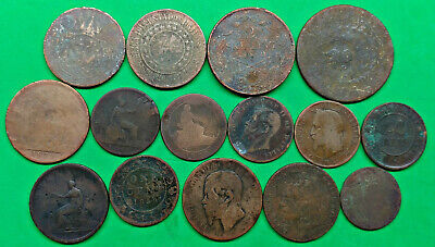 Lot of 15 Old World Copper Coins 1800's Just For Fun !!
