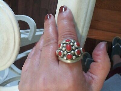 VTG STERLING SILVER NAVAJO CORAL Cluster Ring Sz10 -GREAT CONDITION SPECIAL SALE
