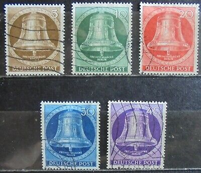 GERMANY (Berlin) 1953 Freedom Bell (Clapper in Center) Complete Set of 5 Used