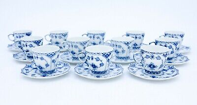12 Cups & Saucers #1038 - Blue Fluted Royal Copenhagen Full Lace - 1:st Quality