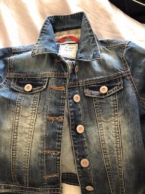 Next Girls Denim Jacket Age 9-10 Years with fabric detailing on cuffs