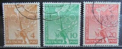 GERMANY (Berlin) 1952 Olympic Games Festival, Complete Set of 3 Used