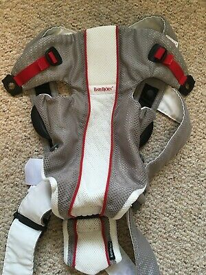 BabyBjorn Baby Carrier Air Grey/White with black fleece cover and hood