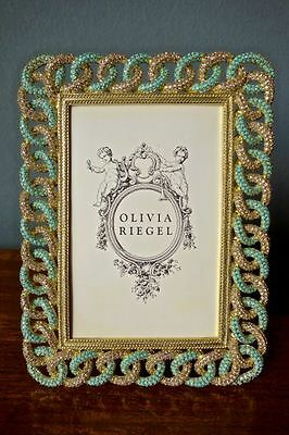 """OLIVIA RIEGEL Crystal """"Gold Chandler"""" 4x6 Photo Frame New in Box"""