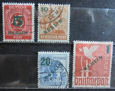 GERMANY (Berlin) 1949 Numeral & Pictorial Issue, Surcharged, Set of 4 Used