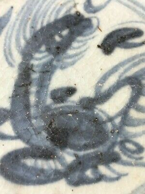 Antique Chinese Blue and White Porcelain Dragon Dish