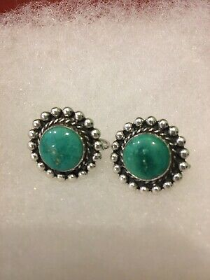 Vintage Navajo Turquoise And Sterling Silver Button Earrings
