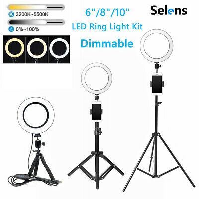 Dimmable LED Ring Light Phone Selfie Photo Studio Video Tripod Stand Lamp Camera