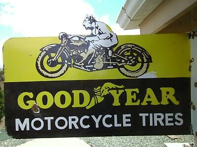 Good/Year Double Sided Motorcycle Tires Porcelain Flange sign
