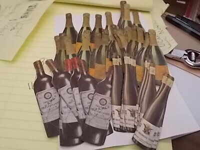 Antique Advertising Scrap Lot, Wine And Champagned Bottles,