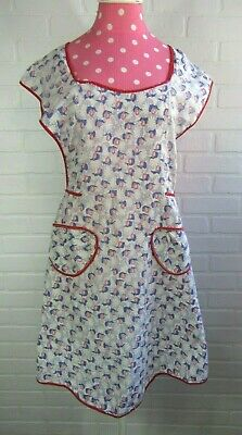 Vintage Full Bib Apron  White Cotton Flower Pattern Farmhouse Chore Canning