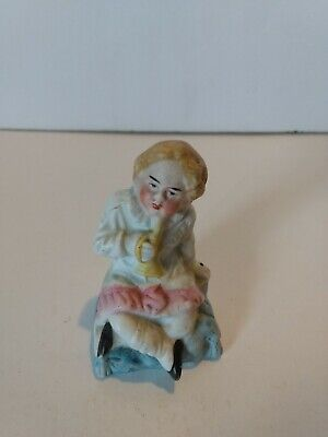 Bisque Girl With Horn Victorian Figurine Germany