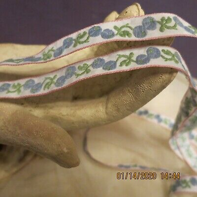 Vintage Jacquard Blue Berries Leaves On White Tiny Edge  Pink Doll Hat 5Yd 1/2