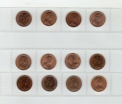12 x Half Penny 1/2p coins (1 proof, 6 Unc, 5 Circulated)