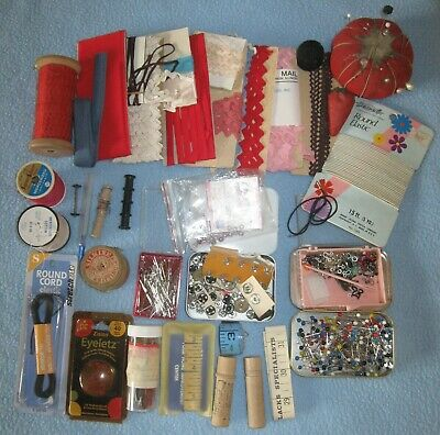VINTAGE Lot of Sewing Notions Pins; Rick-Rack; Snaps; Thread; Tape Measures More