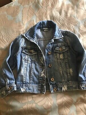 next denim jacket Age 4 Distressed Ripped Look Girls