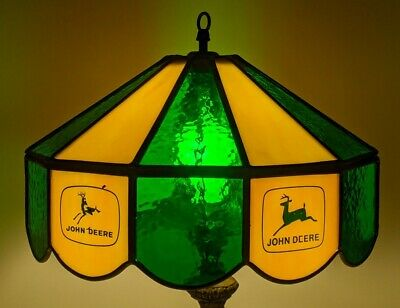 """Vintage John Deere Advertising Leaded Stained Glass Lamp Shade 7.75"""" x 13.75"""""""