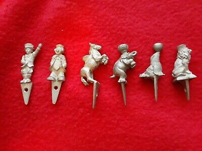 Vintage Lunt Set of 6 Pewter Circus Birthday Candle Holders