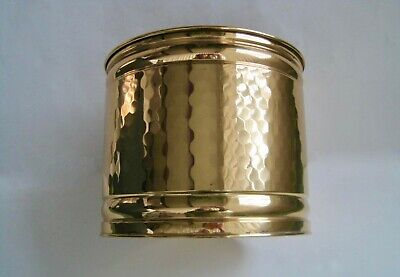 """Vintage Hammered SOLID BRASS Planter Pot 8"""" - Lacquered Finish -Made in the USA"""