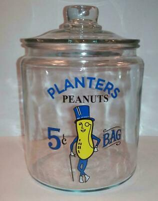 "Super Nice Planters Peanut "" Mr Peanut "" Glass Counter Jar # 2"