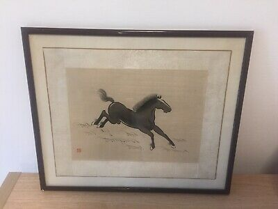 Old Antique Vintage Chinese Galloping Horse Original On Silk Art Framed