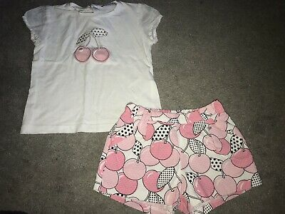 Beautiful Girls Mayoral Summer Cherry Outfit, T-shirt & Shorts, Age 3 Years