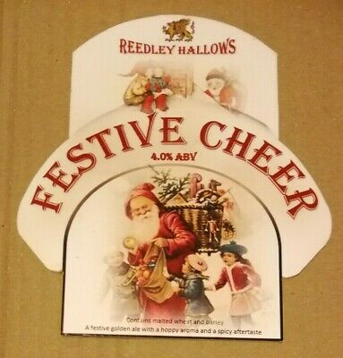 Beer pump clip badge front REEDLEY HALLOWS brewery FESTIVE CHEER real ale