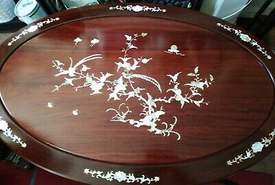 Chinese Hardwood Mother Of Pearl Inlaid Coffee Table And Stools