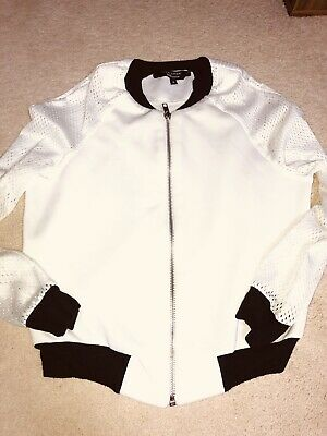 Girls New Look 915 Generation Jacket Age 9 White Black Cuffs Zip Up With Pockets