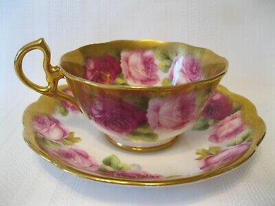 Vintage Royal Albert Old English Rose Heavy Gold Trim Cup and Saucer