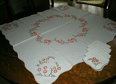 "Vintage Hand Embroidered Linen Tablecloth 38"" X 38"" & 4 Matching Napkins"